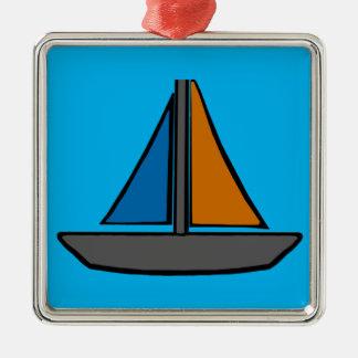 Drei farbige Segelboote Silbernes Ornament