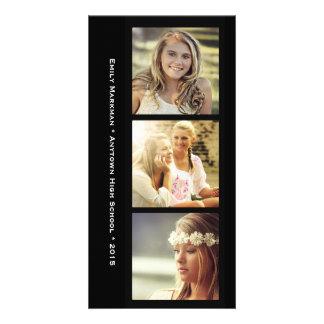 Drei Foto-schwarze Rahmen-Abschluss-Mitteilung Bilder Karten