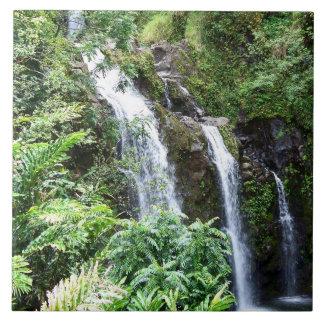 Drei hawaiische Wasserfall-Foto-Fliese Fliese