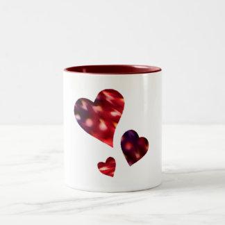 Drei Herz-Tasse Zweifarbige Tasse