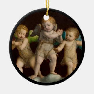 Drei kleine Engel oder Engel Rundes Keramik Ornament