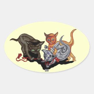 Drei kleine Kätzchen Ovaler Aufkleber