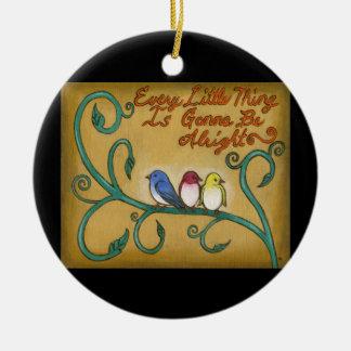 Drei kleine Vögel Keramik Ornament