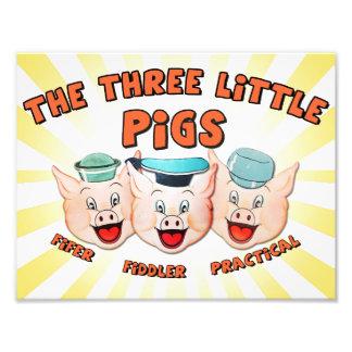 Drei kleiner Schwein-Charakter-Druck Fotodruck