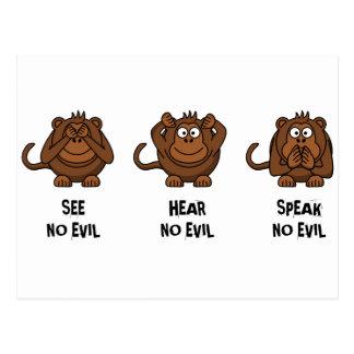 Drei kluge Affen Postkarte