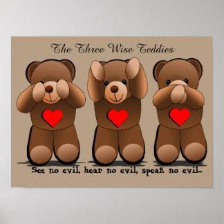 Drei kluge Affen, Teddybär-Druck Poster
