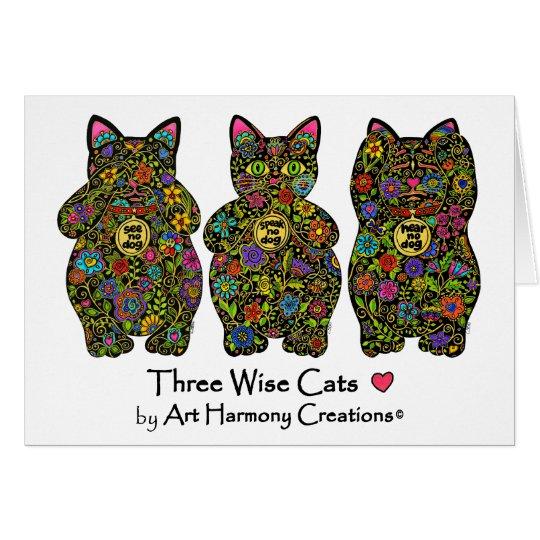 Drei kluge Katzen-Gruß-Karte Karte