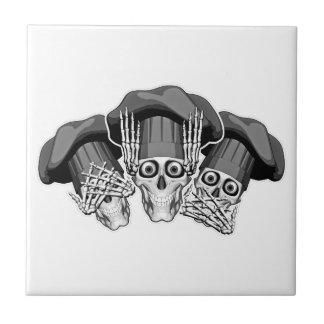 Drei kluge Kochs-Schädel Keramikfliese