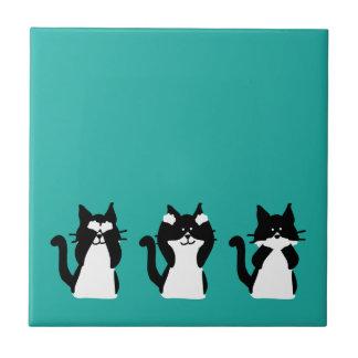 Drei kluges Kätzchen Keramikfliese