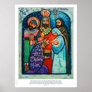 Drei Könige Christmas Poster, Matthew-2:11-Vers Poster