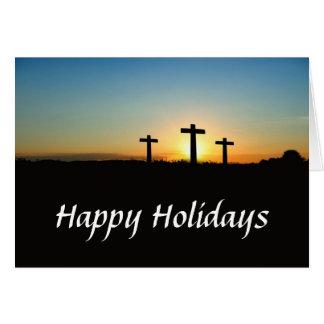 Drei Kreuze an einem Hügel-Feiertag Karte