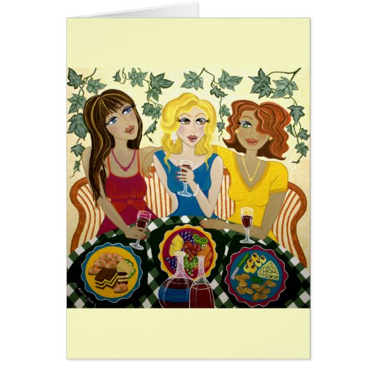 Drei Mädchen feiern kundengerechte Kunst-Karte Grußkarte