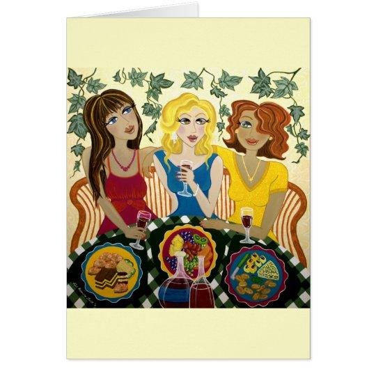 Drei Mädchen feiern kundengerechte Kunst-Karte Karte