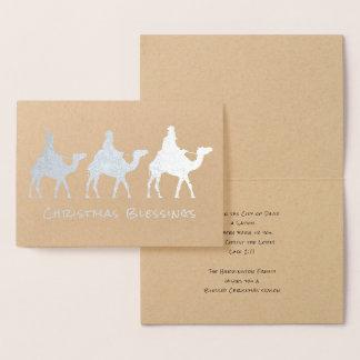 Drei Männers-Weise-Weihnachtssegen-Folien-Karte Folienkarte