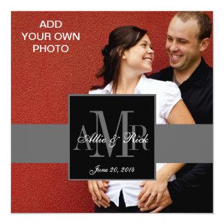 Drei Monogramme mit Foto-Hochzeits-Einladungen Quadratische 13,3 Cm Einladungskarte