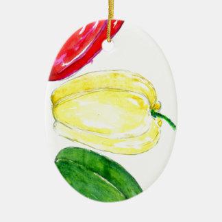 Drei Paprikaschoten-Kunst Ovales Keramik Ornament