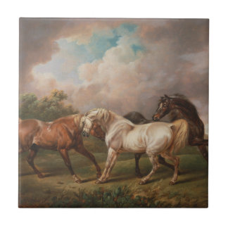 Drei Pferde in einer stürmischen Landschaft Keramikfliese
