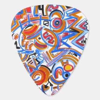 Drei Ring-Zirkus - abstrakte Kunst handgemalt Plektron