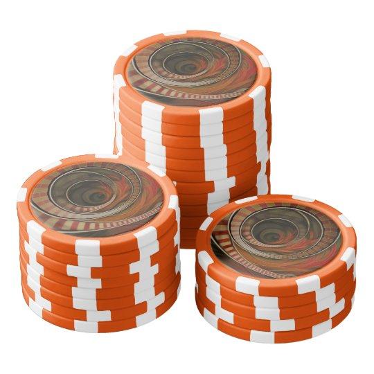 Drei-Ring Zirkus-gestreiftes Symbol-Fraktal-Kreise Poker Chips Set