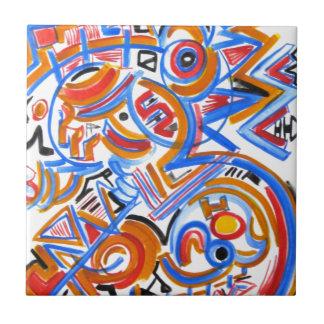 Drei Ring-Zirkus-Hand gemalte abstrakte Keramikfliese