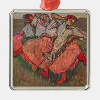 Drei russische Tänzer durch Edgar Degas Quadratisches Silberfarbenes Ornament