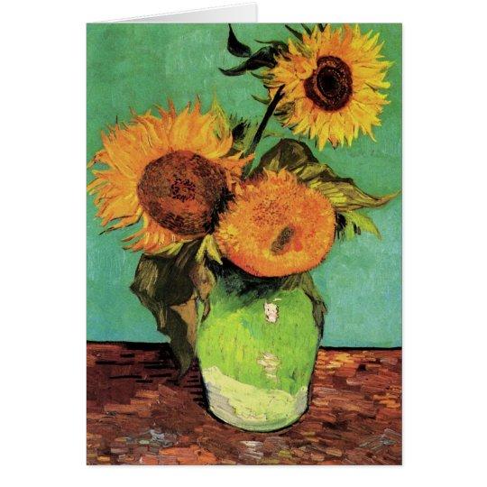 Drei Sonnenblumen in einem Vase durch Vincent van Karte
