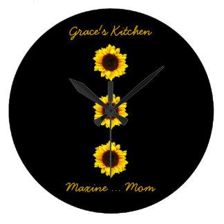 Drei sonnige Sonnenblumen für die Küche der Anmut Große Wanduhr