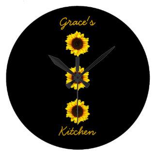 Drei sonnige Sonnenblumen für die Küche I der Große Wanduhr
