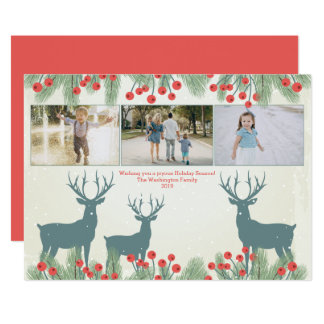 Drei Stechpalmenbeere und -rotwild mit 3 Fotos 12,7 X 17,8 Cm Einladungskarte