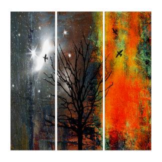 Drei Vögel, die hoch fliegen Triptychon
