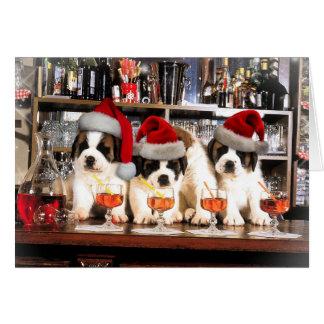 Drei Weihnachten Bernhardiner am Bar Karte