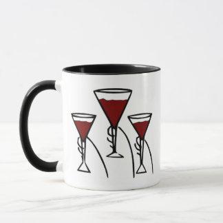 Drei Wein-Gläser im HandCartoon Tasse