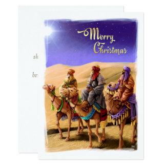 Drei weise Männer, die flache Weihnachtskarten Karte