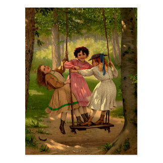 Drei Wildfang-Vintage Illustration Postkarte