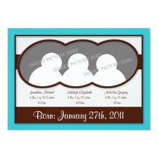 Dreiergruppe-Geburts-Mitteilungen Browns 12,7 X 17,8 Cm Einladungskarte