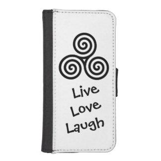 Dreifache Spirale LiveLiebe-Lachen-Schwarzes I Phone 5 Portmonee
