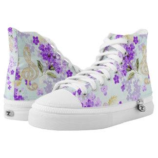 Dreifacher Clef-lila mit BlumenBlumen Hoch-geschnittene Sneaker