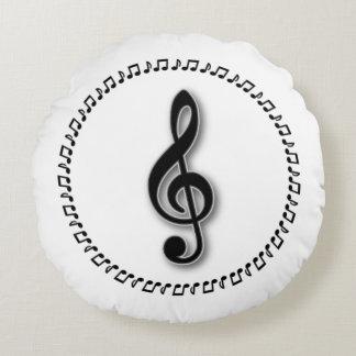 Dreifacher Clef-Musik-Anmerkungs-Entwurf Rundes Kissen