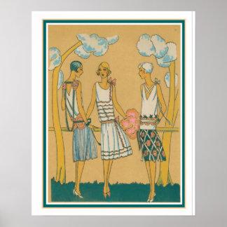Dreißigerjahre Kunst-Deko-Mode-Skizze Poster