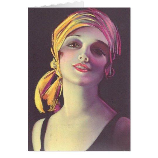 Dreißigerjahre Sinti und Roma-Glamour-Mädchen Grußkarte