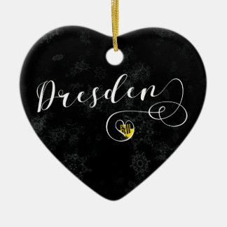 Dresden-Herz, Weihnachtsbaum-Verzierung, Keramik Ornament
