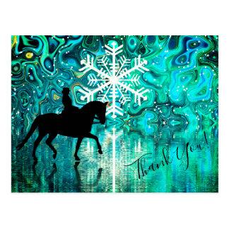 Dressage-Pferd, Reiter-Winter-Schneeflocke danken Postkarte