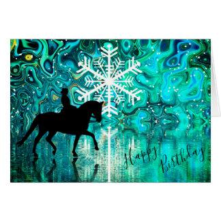 Dressage-Pferdewinter-Schneeflocke-alles Gute zum Karte