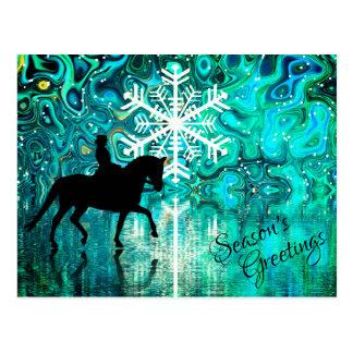 Dressage-PferdeWinterurlaub der Jahreszeit die Postkarte