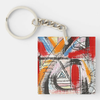 Dritte Auge-Hand gemalte abstrakte Kunst Schlüsselanhänger
