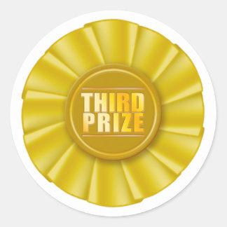 dritter prize Aufkleber der gelben Rosette
