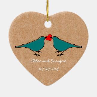 Drosseln und Liebe-Herz-Hochzeit Keramik Ornament