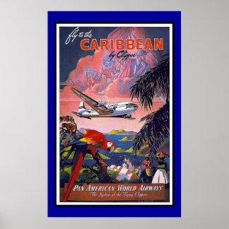 Druck-Retro Vintage Bild-Reise Karibisches Meer Poster