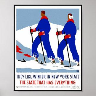 Druck-Retro Vintager Bild-Reise-New- YorkStaat Poster