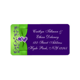 DRUCKband lila, grünes Hochzeits-Adressen-Etikett Adressetikett